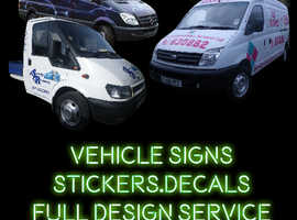 Vehicle signs, Window stickers, Logos, Custom decals, stickers, self install signs from £12