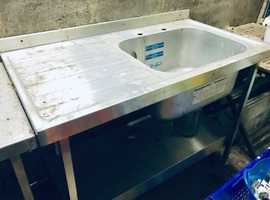 Stainless steel sink and separate table