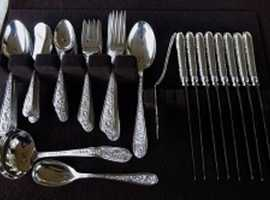 "Kirk-Stieff ""Corsage"" Sterling Silver Set-Service for 8 + Serving Pcs"