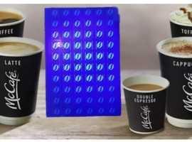 150 McDonald's ultraviolet  coffee stickers