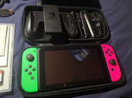 Nintendo Switch Bundle *Check Description* Uncommon Pink and Green Joy Con