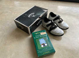 Golf Shoes (Callaway),Trolley Score Card Holder with Ball+Tee Holder,Tees,Golf Ball Markers+Divot Tool