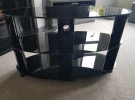 Tv table black glass (tempered safety glass)afety glass