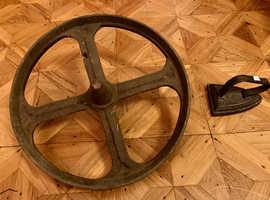 Antique Solid Metal Wheel Industrial , Heavy , 40 cm diameter .
