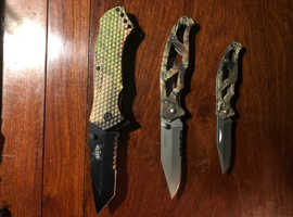 Assorted Camouflage Lock Knives x 3