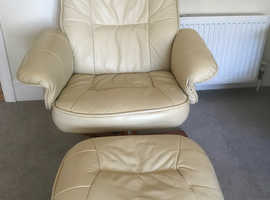 Leather swivel chair and footstool