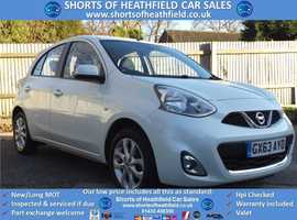 Nissan Micra, 2013 (63) white hatchback, Manual Petrol, 44000 miles