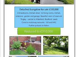 Bungalow for sale Tingley. Reservoir views. Huge garden