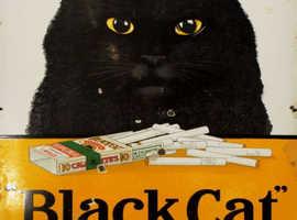 BLACK CAT CIGARETTES - METAL ADVERTISING WALL SIGN - RETRO ART