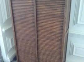vintage oak roller shutter tambour filing cabinet with key