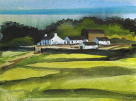 Original Watercolour  - Welsh Farm by John Cleal