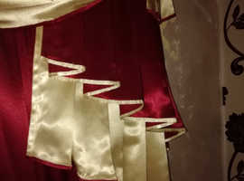 Satin swags tails curtains and pelmet