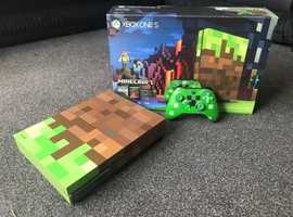 Microsoft Xbox One S 1TB Minecraft Limited Edition Console In Great Condition