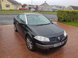 Renault Megane, 2004 (04) Black Convertible, Automatic Petrol, 92,000 miles