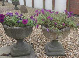 Pair Vintage stone tulip urns