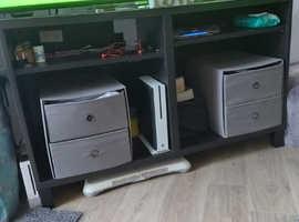 Black tv unit with grey storage