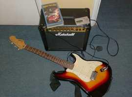 ELECTRIC GUITAR, THREE PICKUPS, TREMLO + MARSHALL AMP + TUNER + ROCK VIDEOS