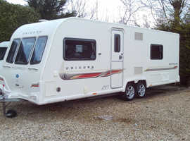 Bailey unicorn Barcelona 2012 twin axle touring caravan, Alu Tech body shell. fixed bed layout great condition.