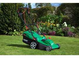 Electric Rotary Lawn Mower, 1600W (Qualcast) + 4 Socket Cable Reel 19 meters