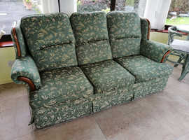 Settee /sofa excellent condition, green fabric, very comfortable.