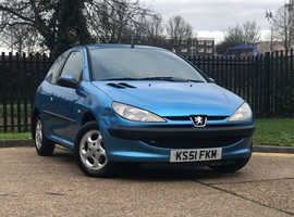 2002 (51) PEUGEOT 206 1.4 LX 3 Dr HATCHBACK in BLUE, NEW 12 MONTH MOT
