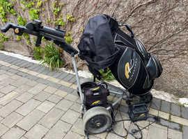 Powakaddy Freeway Electric Golf Trolley and Powakaddy Cart Bag 36 hole + charger