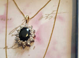 9ct Gold Sapphire + Cubic Zirconia Pendant + Chain
