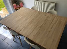 Dining Table (extending) Birch with four chairs