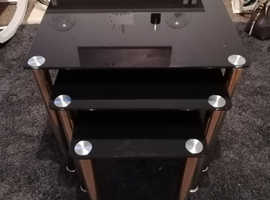 BLACK GLASS NEST OF TABLES WITH CHROME LEGS