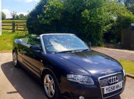 Audi A4, 2008 (58) Black Convertible, Manual Diesel, 80,000 miles