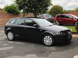 Audi A3, 2007 Sport Back (07) Black Hatchback, Manual Diesel, 143,000 miles