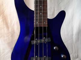 Rare Wesley Transparent Blue Acrylic Electric Bass Guitar