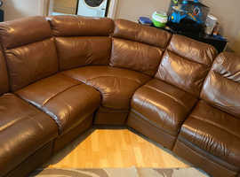 Paolo corner leather mix power recline corner sofa (open to offers)