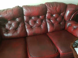 Leather settee plus chair