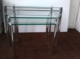 3 Nesting Glass/Chrome Coffee Tables circ 1970s