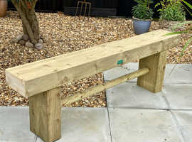 Brand New 1.2m 2/3-Seat Wooden Garden Sleeper Bench - Made To Order - Courier Service Available