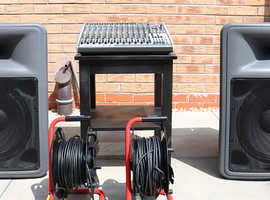 """PA Equipment all in working order: Mixer (V.G.C.) + 2 x 15"""" PR 15P Powered Speakers + 4 x Monitors etc."""