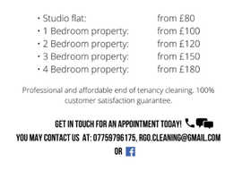 END OF TENANCY CLEANING + FREE CARPET CLEANING INCLUDED