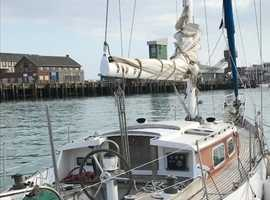 Pretty French 36 foot wooden sailboat