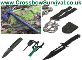 Hunting Survival Bush-Craft Kit. Military Style Axe, Apache Knife, Hand Chainsaw, Lock Knife & Fire Lighter.