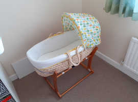 Mothercare moses basket with rocking stand, mattress, duvet and 3 fitted sheets