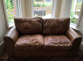 Free 2 seater leather brown sofa
