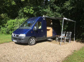 4-berth campervan with double cycle rack, side awning, solar panel, great confition