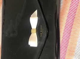 Ted baker black patent clutch bag