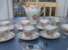 Aynsley pink rose and gold design coffee set - excellent condition