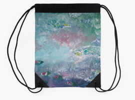 Drawstring bag - By the lake in the night