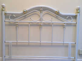 King size 5ft white brass/gold colour metal headboard