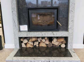 Viscount White & Steel Grey Granite Fireplace