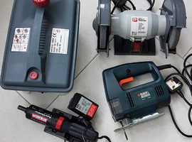 JOB LOT ELECTRIC DIY TOOLS - GRINDER, JIGSAW, RECHARGEABLE SCREWDRIVER, STEAM WALLPAPER STRIPPER