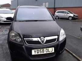 Vauxhall Zafira, 2009 (58) Black MPV, Manual Diesel, 115,899 miles